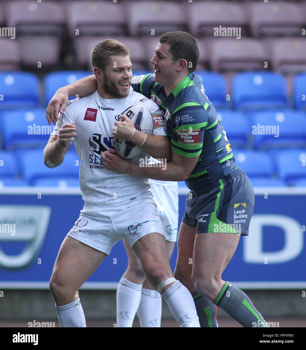 Select Security Stadium, Widnes,UK 14th Feb 2016. Widnes Vikings v Leeds Rhinos. First Utility's Super League - Stock Image