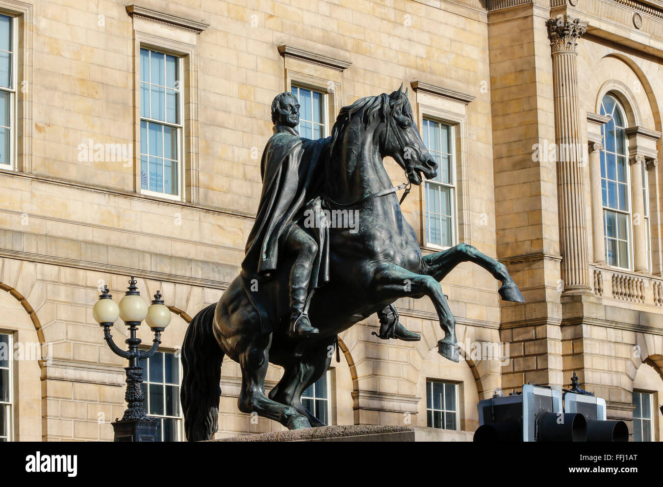 Statue of the Duke of Wellington on  horseback, Princes Street, Edinburgh, Scotland, UK - Stock Image