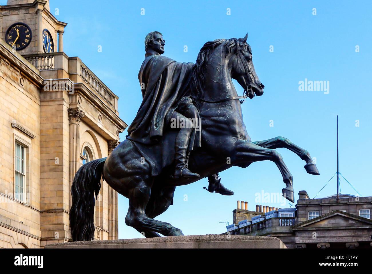 Statue of the Duke of Wellington on  horseback, Princes Street, Edinburgh, Scotland, UK - Stock Image