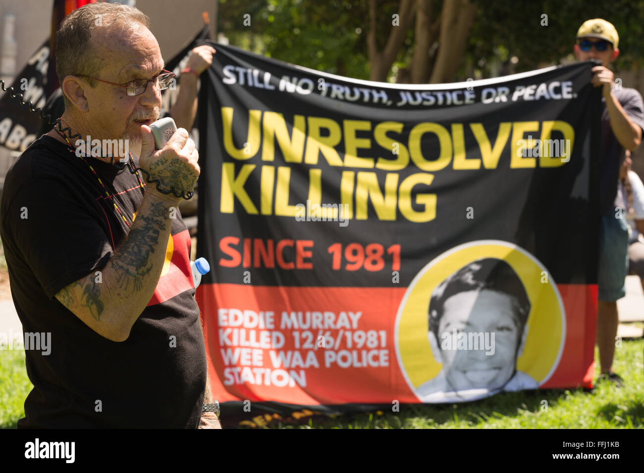 Sydney, Australia. 14th Feb, 2016. Murri writer and poet Ken Canning spoke of the need for justice for TJ and an - Stock Image