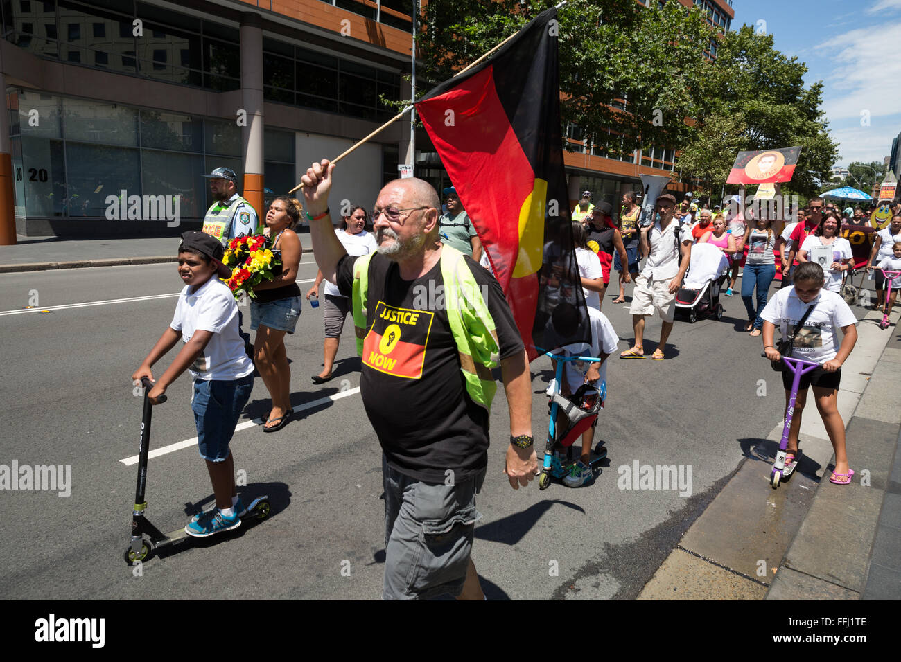 Sydney, Australia. 14th Feb, 2016. Protesters on the march from Waterloo to Town Hall, Rally in Sydney to commemorate - Stock Image