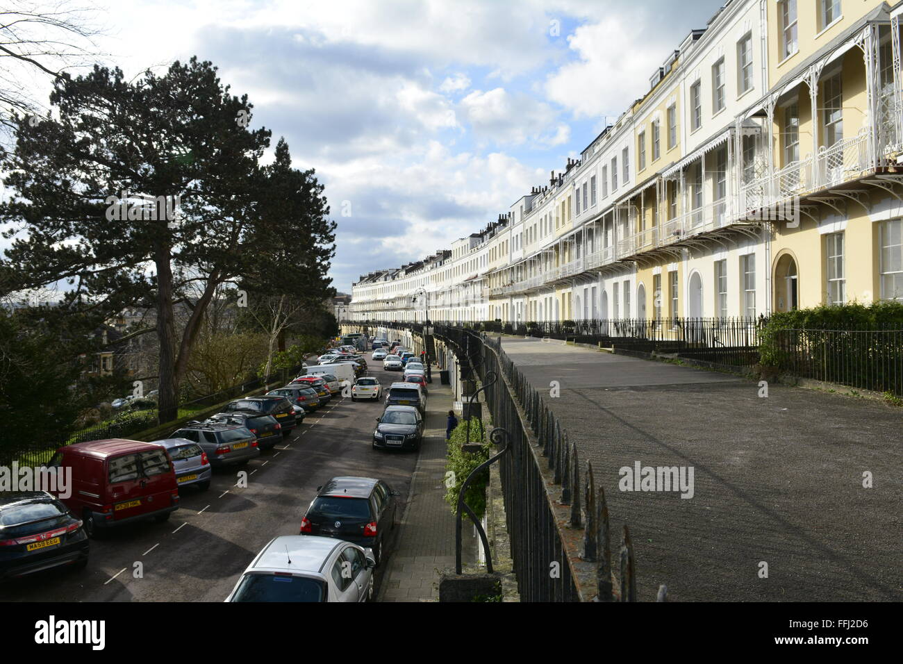 Royal York Crescent Clifton in Bristol. It over looks the docks of the city,and its one of the most expensive street - Stock Image