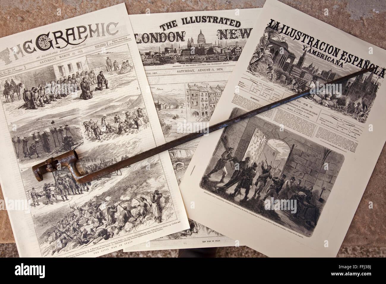 Carlist newspaper library, Lácar. Navarre. Spain - Stock Image