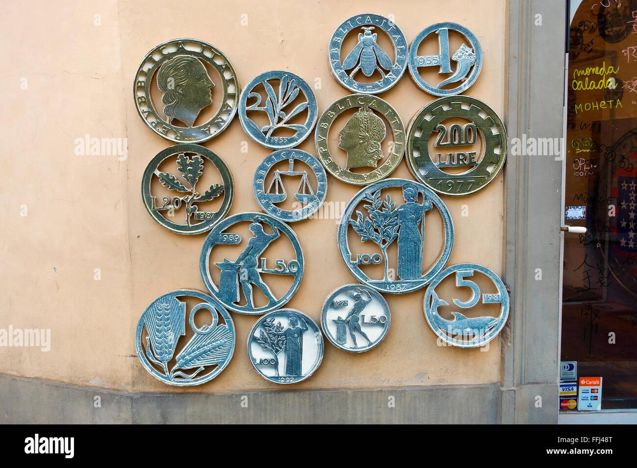 Numismatics shop sign - Stock Image