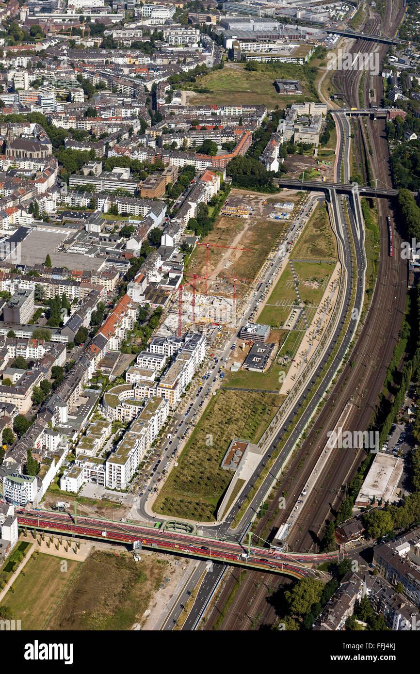 Luftbild, Neue Stadtquartiere Derendorf,  Duesseldorf, Rheinland, Nordrhein-Westfalen, Deutschland, Europa - Stock Image