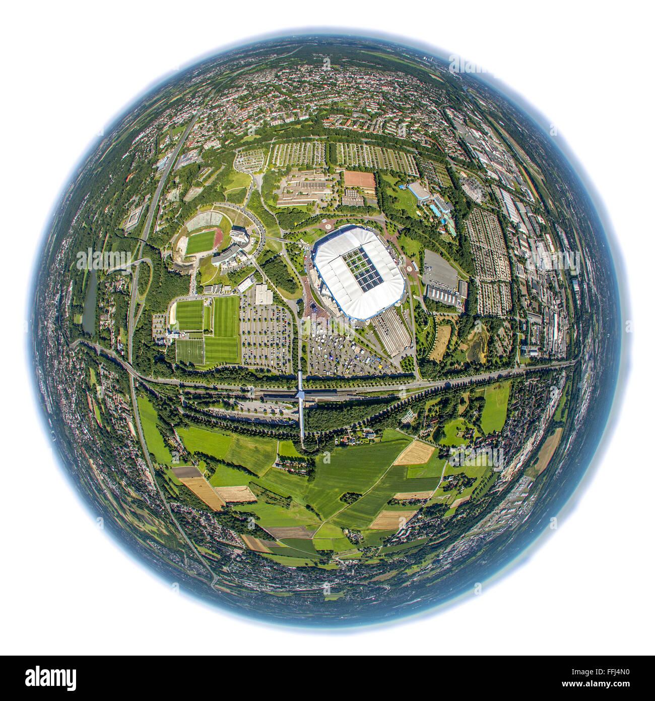Aerial view, Veltins Arena, Veltins Arena, Schalke Arena, S04, national league, Schalke day at Schalke, fish eye - Stock Image