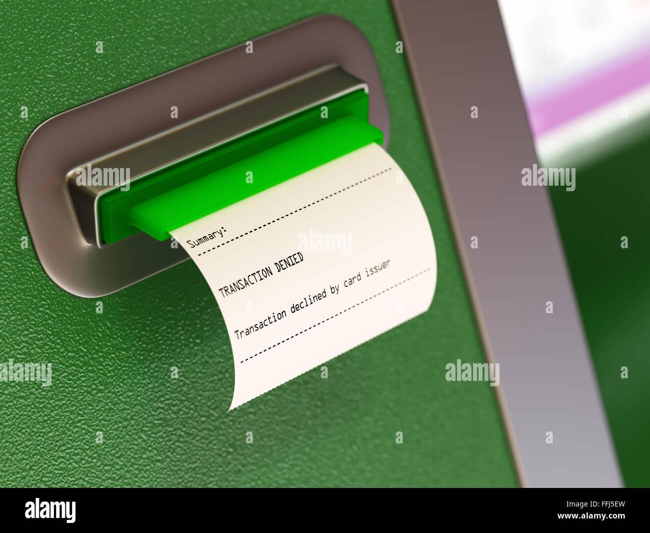 Transaction denied atm machine receipt Stock Photo: 95671153