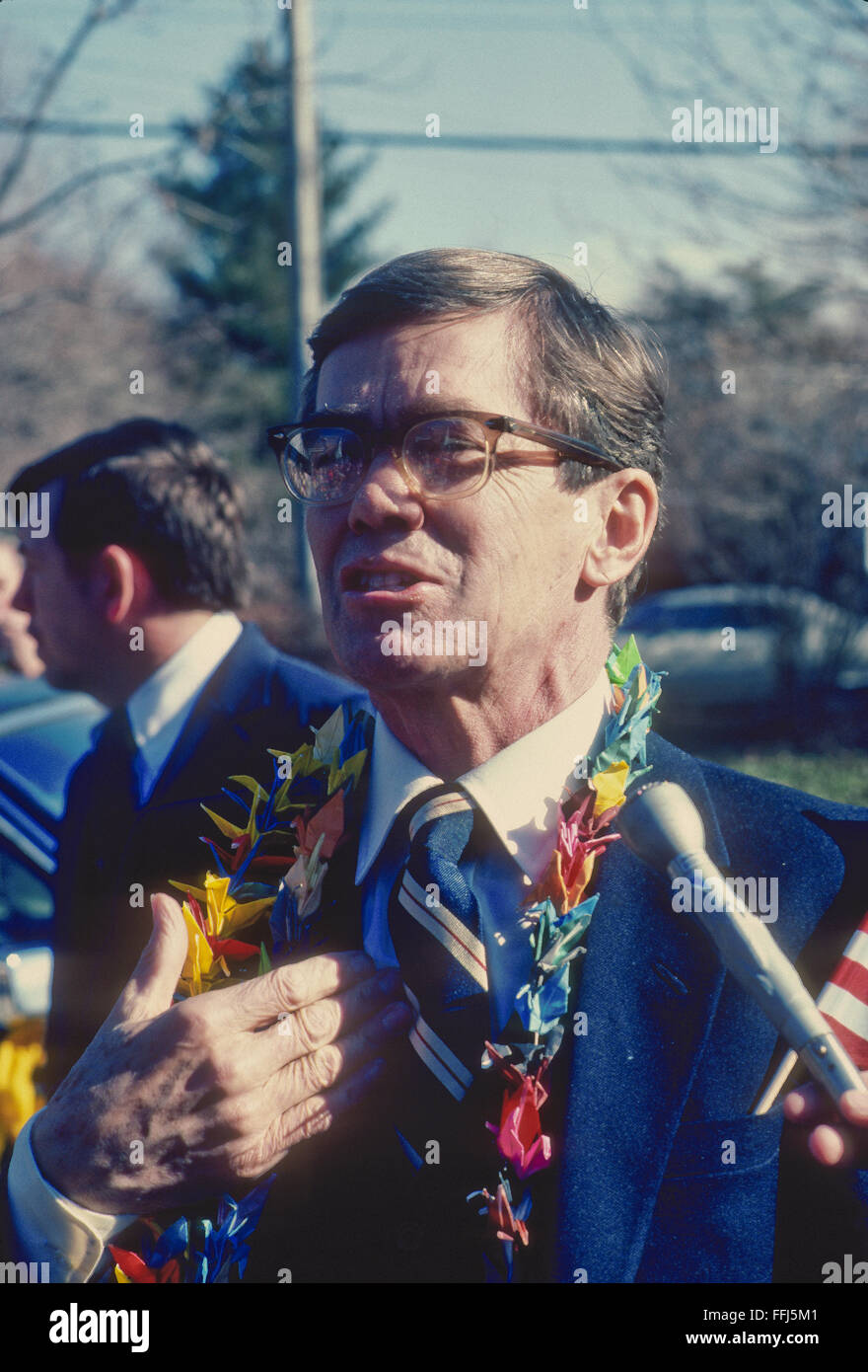 Bethesda, Maryland, USA, 28th  January, 1981 Bruce Laingen the Charge d'Affairs of the US embassy in Tehran - Stock Image