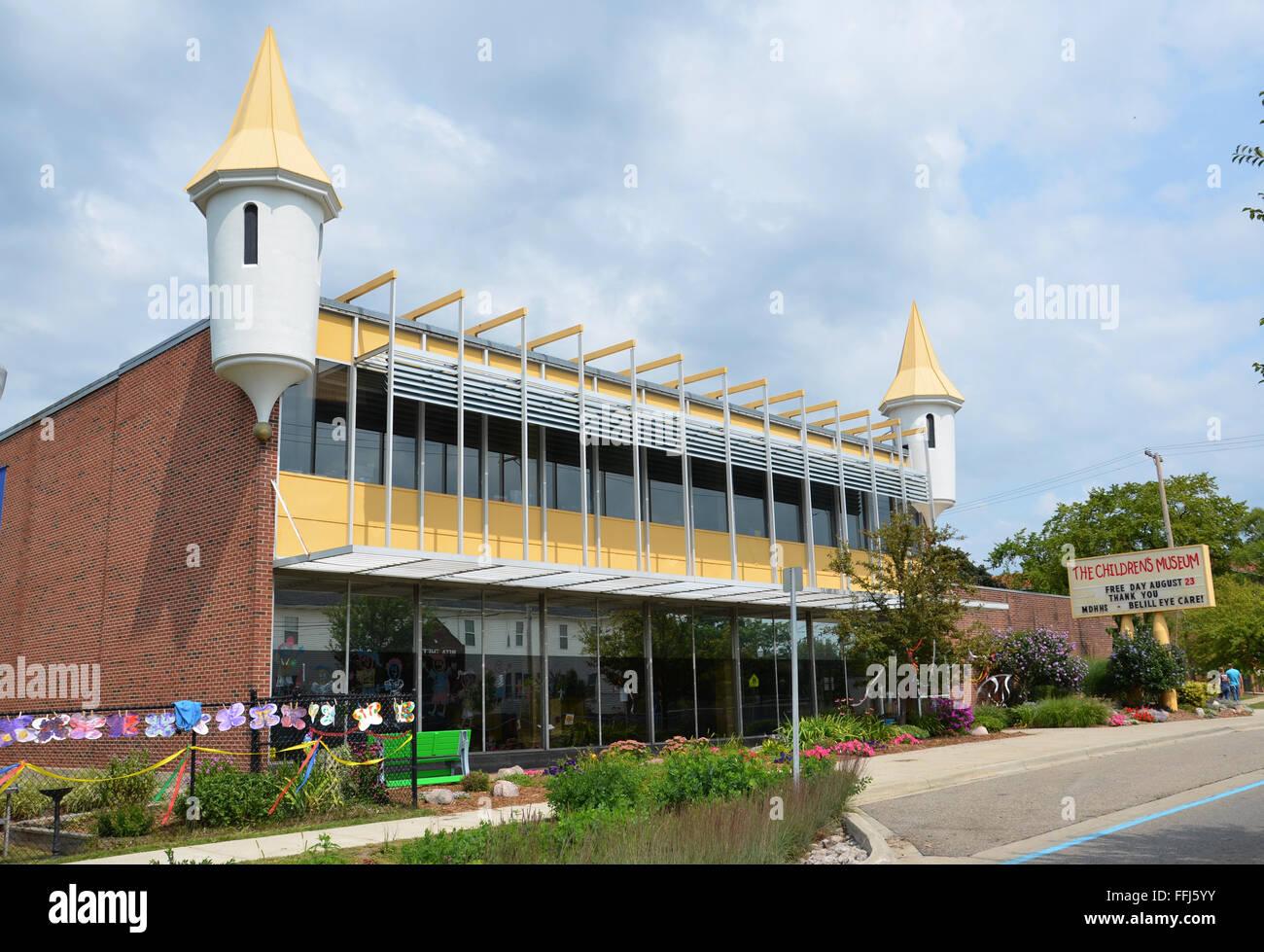 FLINT, MI - AUGUST 22: Flint, Michigan's Children Museum is shown here on August 22, 2015. - Stock Image