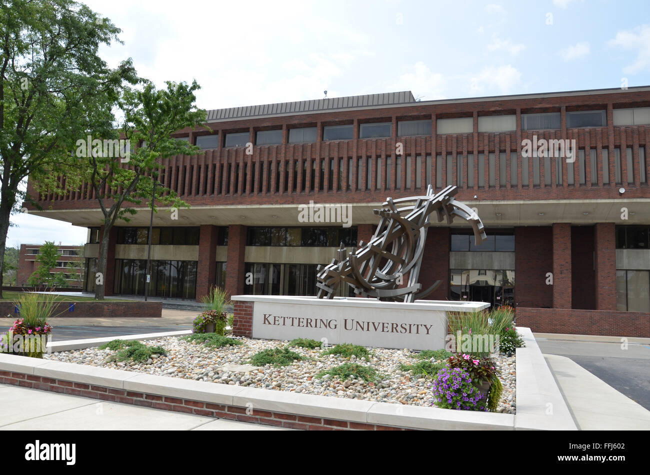 FLINT, MI - AUGUST 22: The Campus Center of Kettering University is shown here on August 22, 2015. - Stock Image