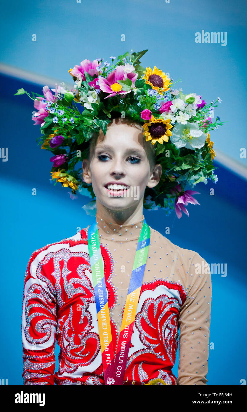 KYIV, UKRAINE - AUGUST 30, 2013: Yana Kudryavtseva (Russia) - gold medallists of 32nd Rhythmic Gymnastics World - Stock Image