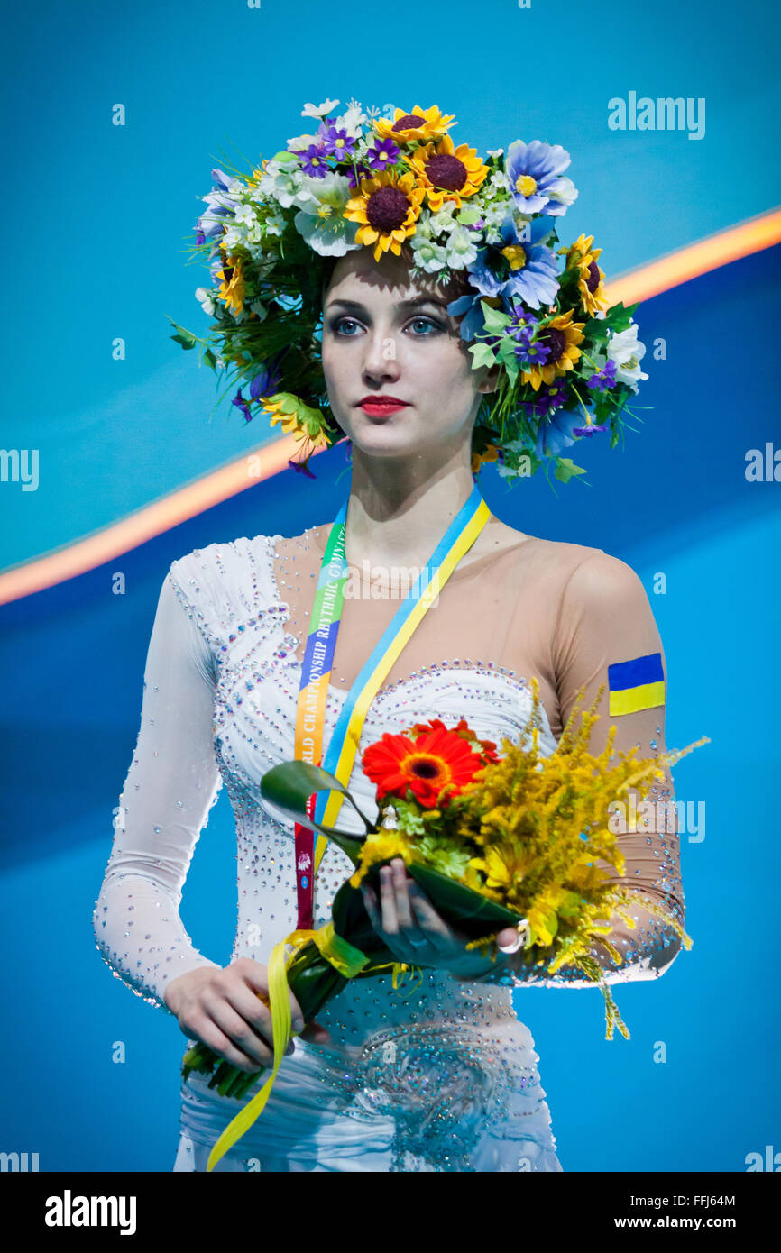 KYIV, UKRAINE - AUGUST 30, 2013: Ganna Rizatdinova (Ukraine) - silver medallists of 32nd Rhythmic Gymnastics World - Stock Image