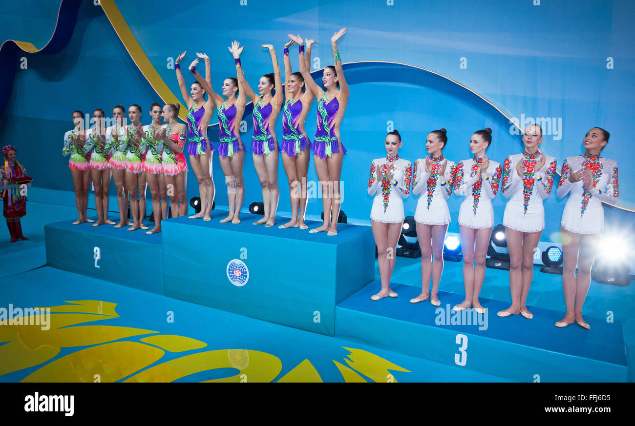 KYIV, UKRAINE - SEPTEMBER 1, 2013: Team of Italy (L), Spain (C) and Ukraine (R), the medallists of Group Apparatus - Stock Image
