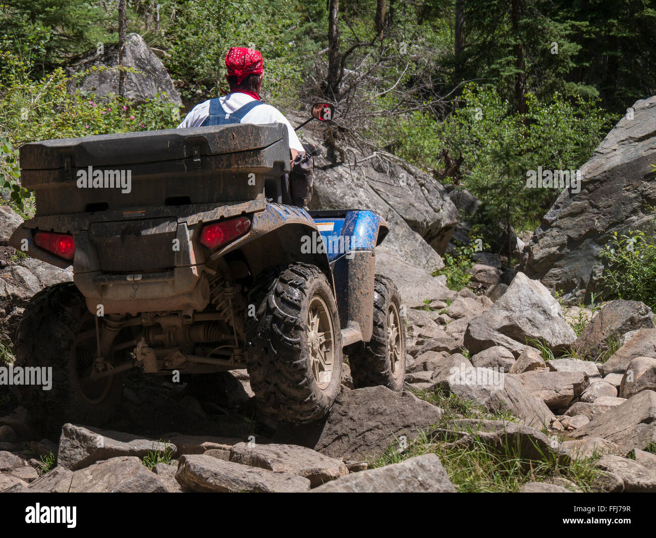 ATV on Union Canyon Trail, Gunnison National Forest, Colorado. - Stock Image