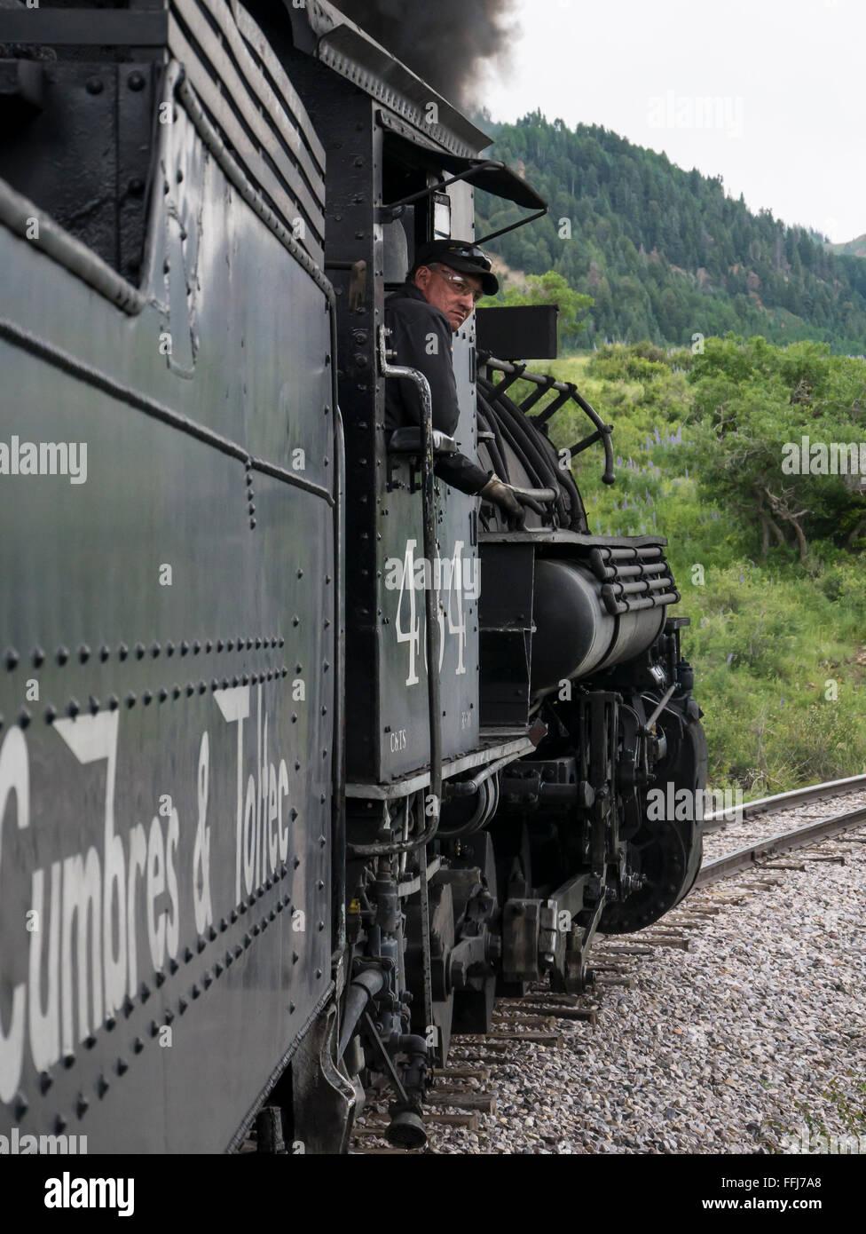 Steam locomotive engine 484 on the track, Cumbres & Toltec Scenic Railroad, Chama, New Mexico to Antonito, Colorado. - Stock Image
