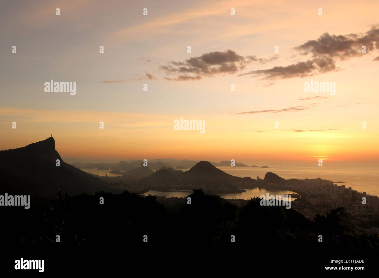 Rio de Janeiro, Brazil, 14th February. Rio de Janeiro at sunrise, seen from Vista Chinesa (Chinese Belvedere) in Stock Photo