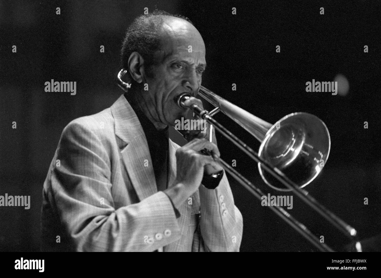 """Vic Dickenson, performing along with Doc Cheatham (not shown in this photo). This concert took place at the """"Great - Stock Image"""