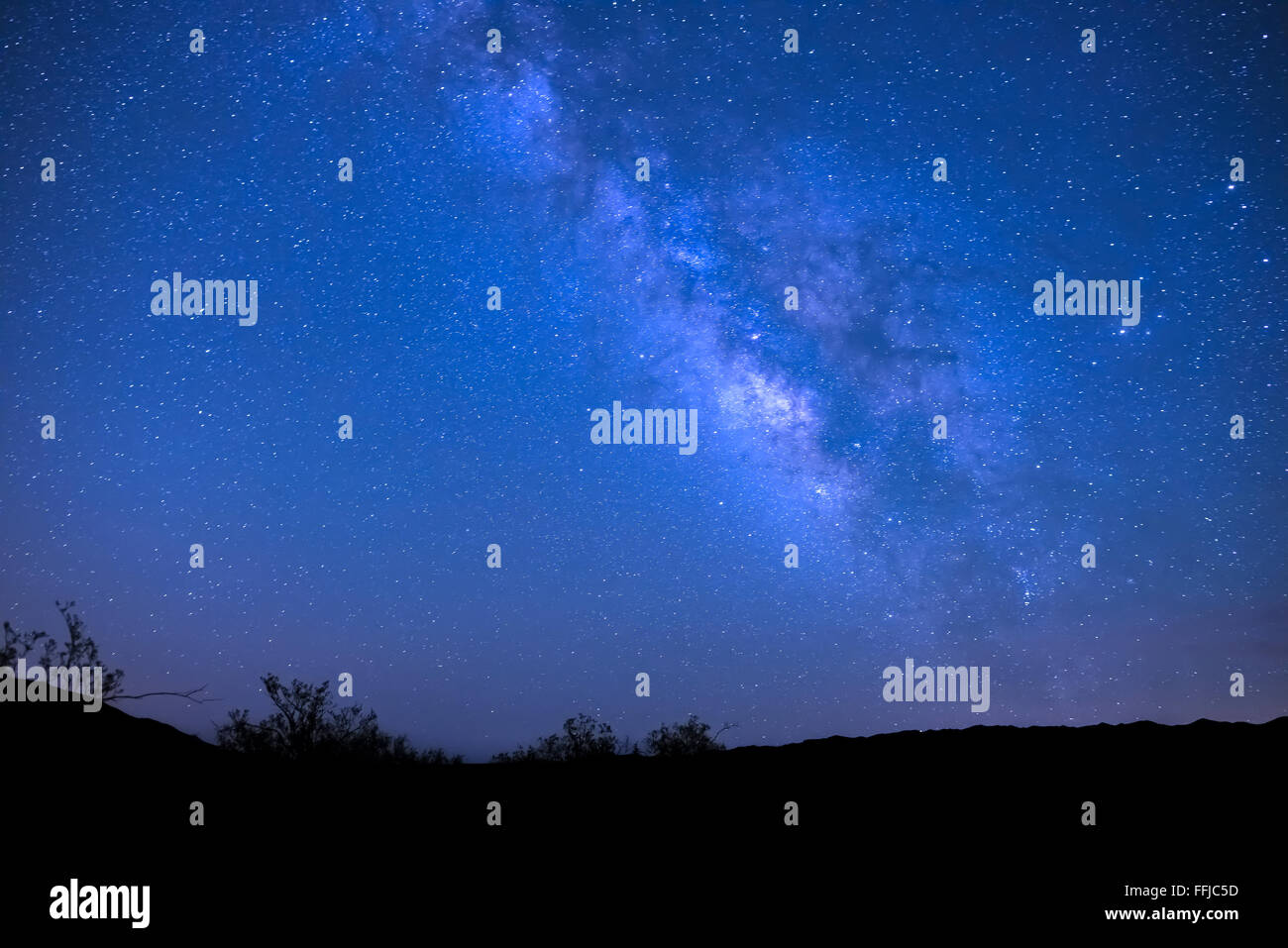 The Milky Way galaxy over Death Valley National Park in California - Stock Image
