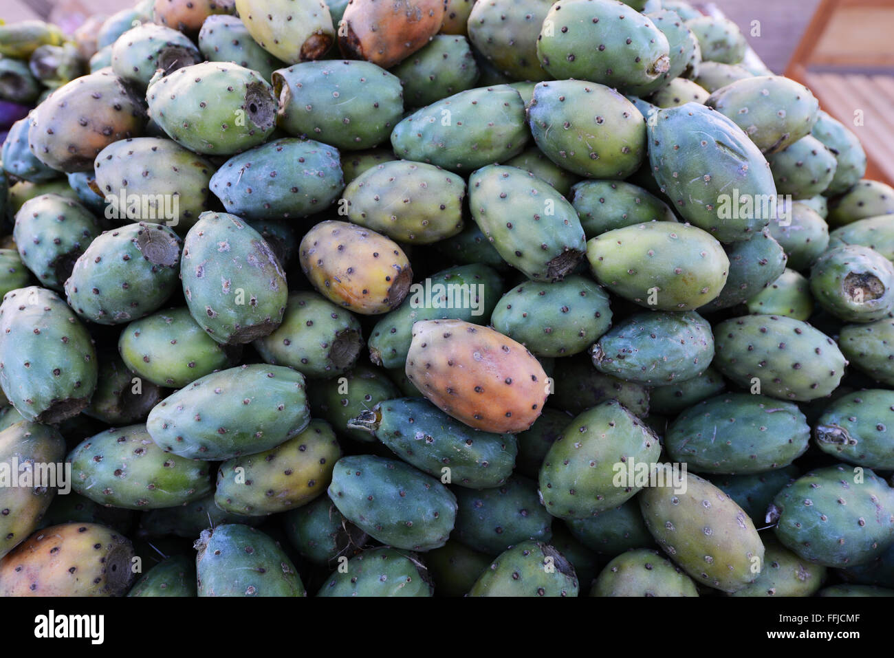 prickly pears in a market in Morocco. - Stock Image