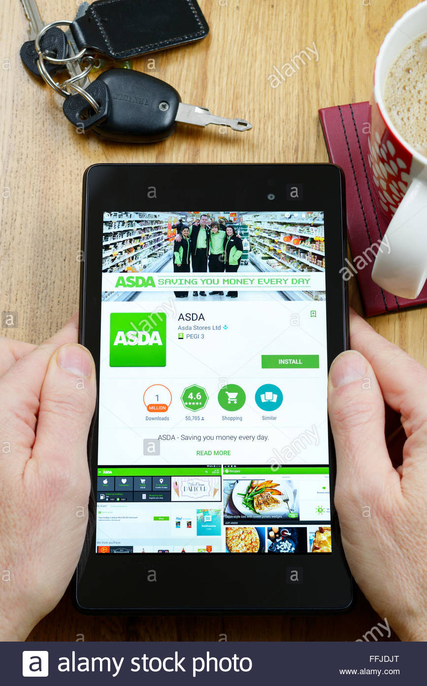 ASDA online store app on an android tablet PC, Dorset