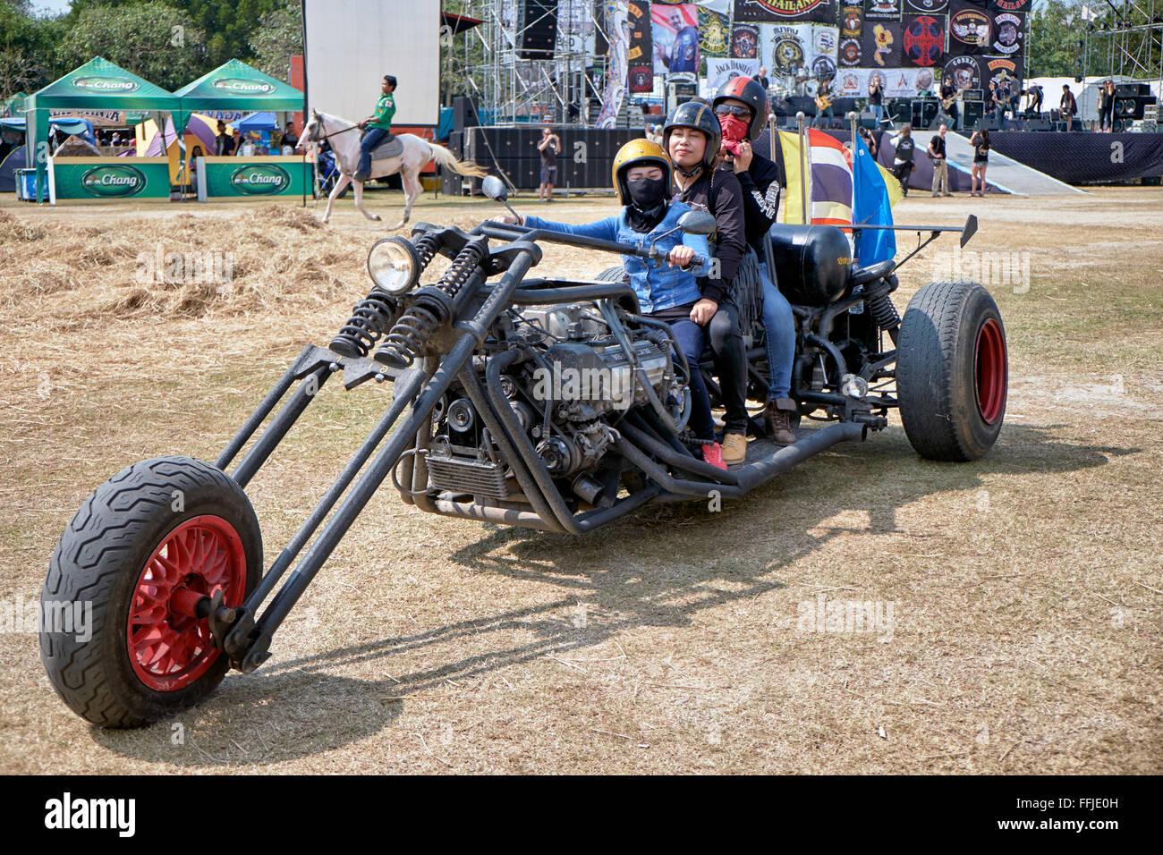 Extremely stretched custom chopper motorcycle at the 2016 Burapha bike festival Pattaya Thailand S. E. Asia. - Stock Image