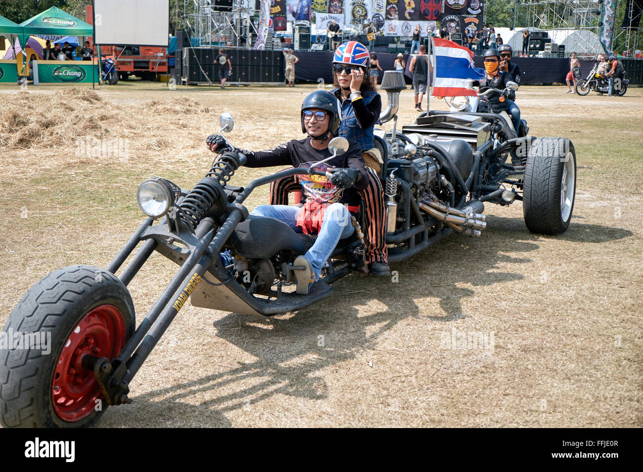 Extremely stretched custom motorcycle at the 2016 Burapha bike festival Pattaya Thailand S. E. Asia. - Stock Image