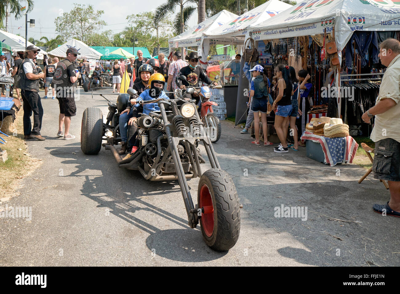 Extremely stretched custom chopper motorcycle at the 2016 Burapha biker festival Pattaya Thailand S. E. Asia. - Stock Image