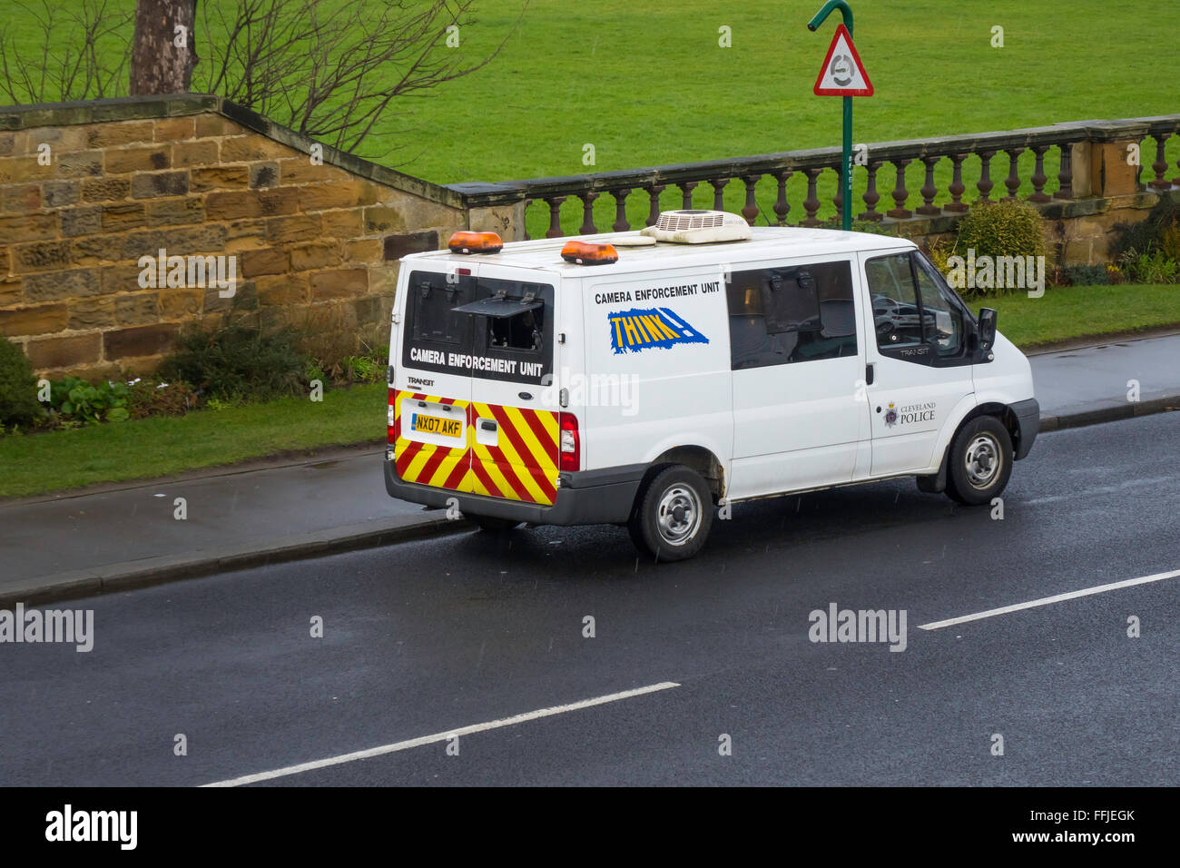 Police van Camera Enforcement Unit covert measuring of motor vehicle speed to check speed limit compliance - Stock Image