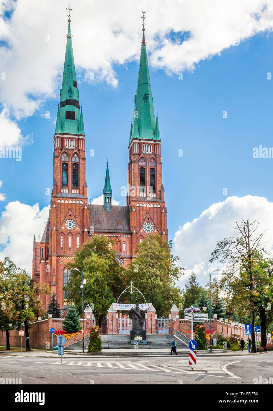 Poland, southwestern Poland, Silesian Voivodship, Rybnik, view of the neo-Gothic red-brick facade of St. Antonio's - Stock Image