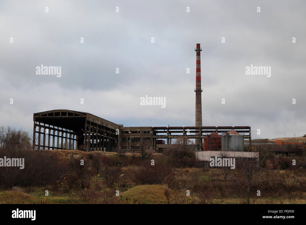 Deindustrialisation closed factory heavy industry, Shishmantsi, Plovdiv province, Bulgaria, eastern Europe - Stock Image