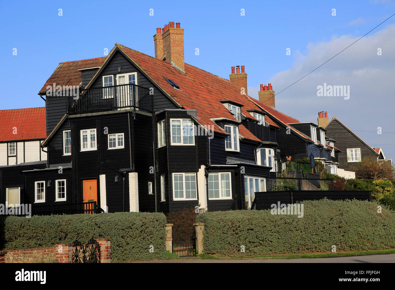 Large black clapboard house at Thorpeness, Suffolk, England, UK Stock Photo