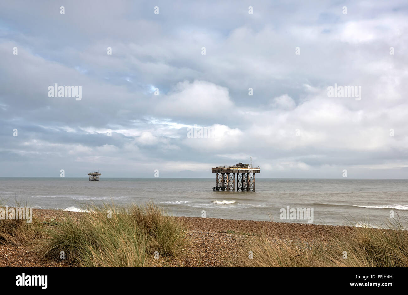 Suffolk coast Sizewell B nuclear power station water inlet and outlet platforms in the North Sea - Stock Image