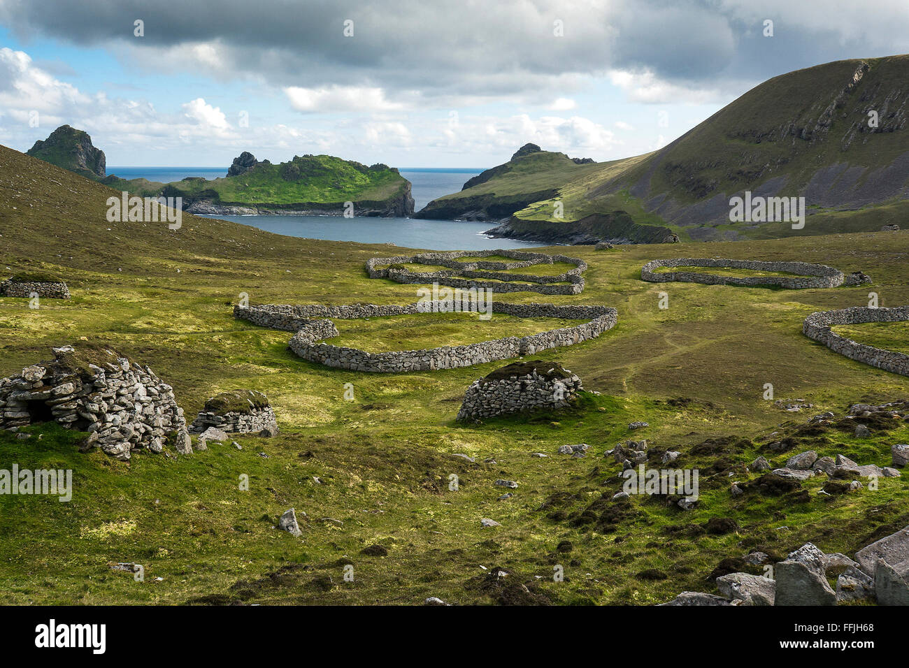 st kilda the gap fanks and dry stone dykes - Stock Image