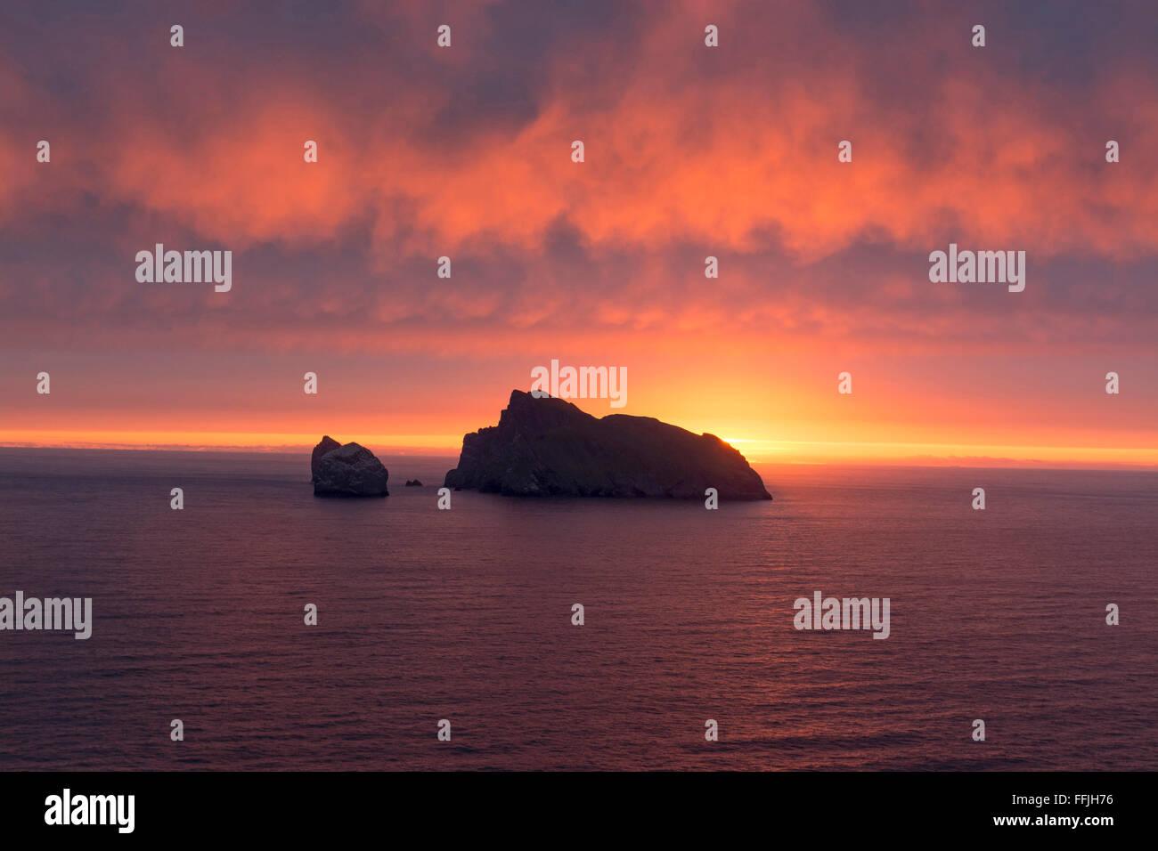 st kilda archipelago atlantic boreray sunrise - Stock Image