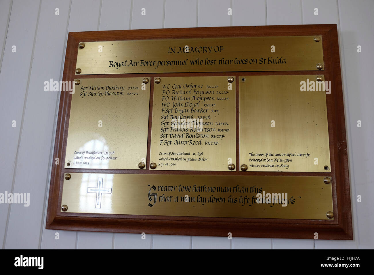 church plaque airmen killed ww2 on st kilda - Stock Image
