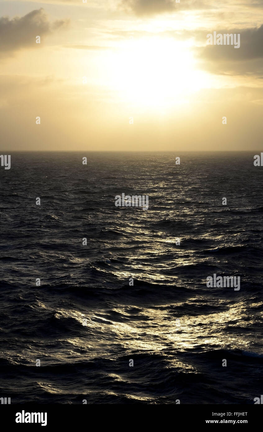 Dazzling early morning sky in the South Pacific Ocean 2000 miles from Tahiti, - Stock Image