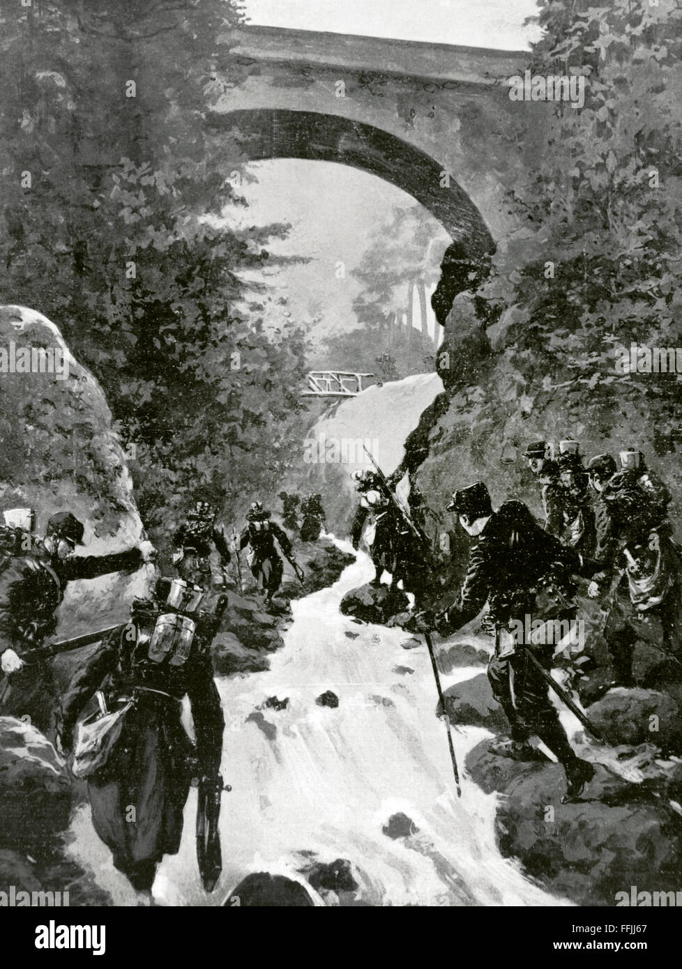World War I (1914-1918). French explorers (Allies) advancing on the enemy, near Saint-Die, France, while the Germans - Stock Image