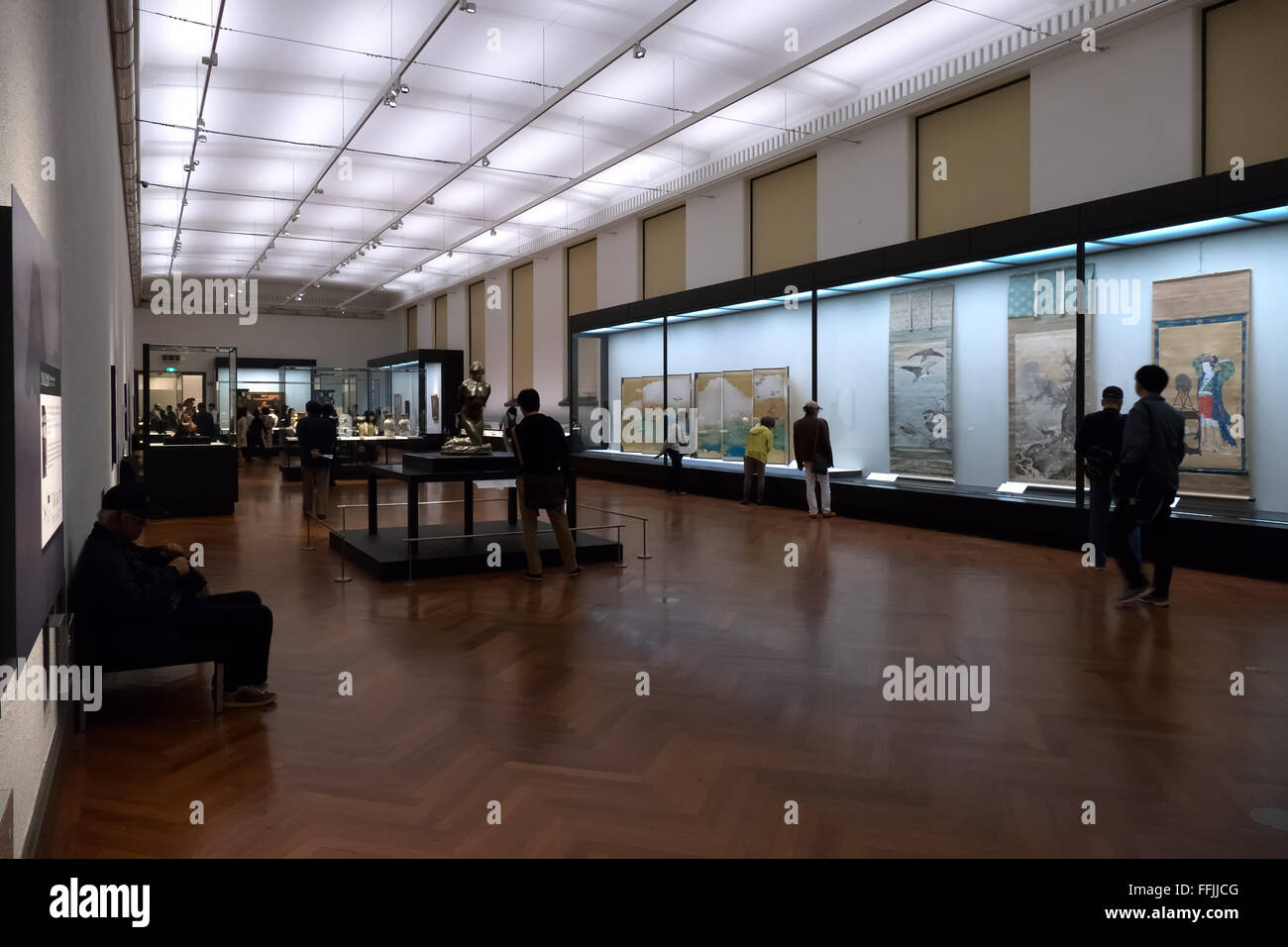 Tokyo National Museum, Japan, Asia. People, tourists, visitors during visit. Art exhibition, gallery, show - Stock Image
