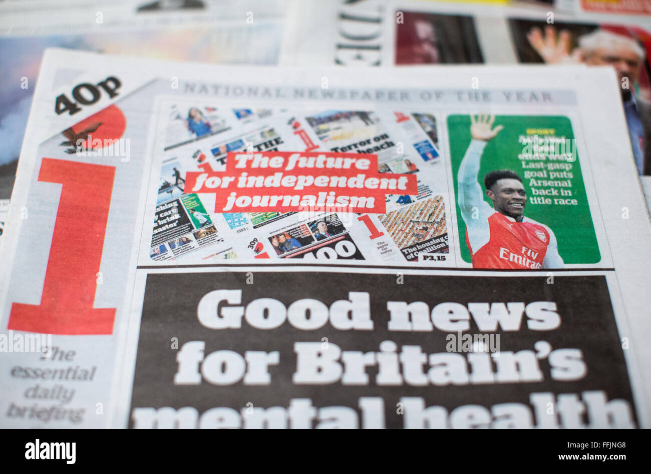 The i Newspaper,a concise version of its sister broadsheet,The Independent.The i Newspaper is making a profit. - Stock Image