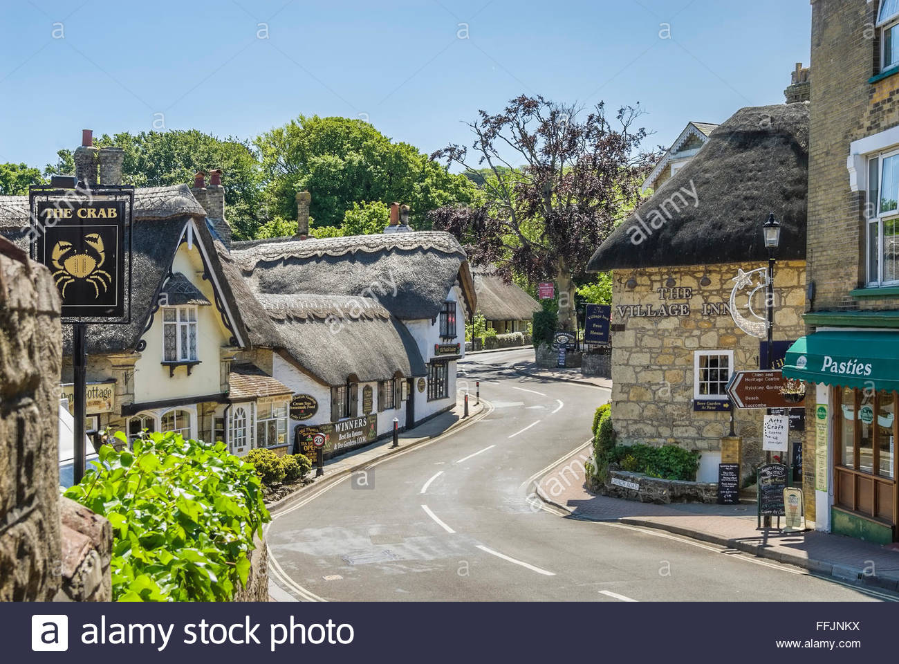 Thatched roof cottages at village Shanklin, Isle of Wight, South England Stock Photo