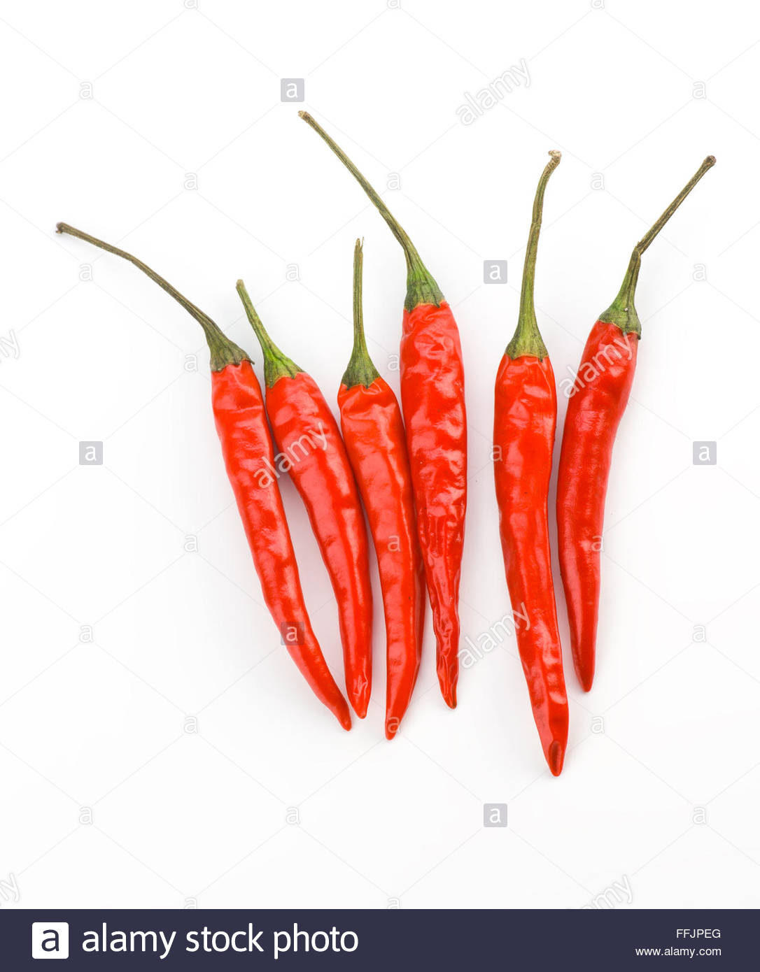 red chillies isolated on white - Stock Image