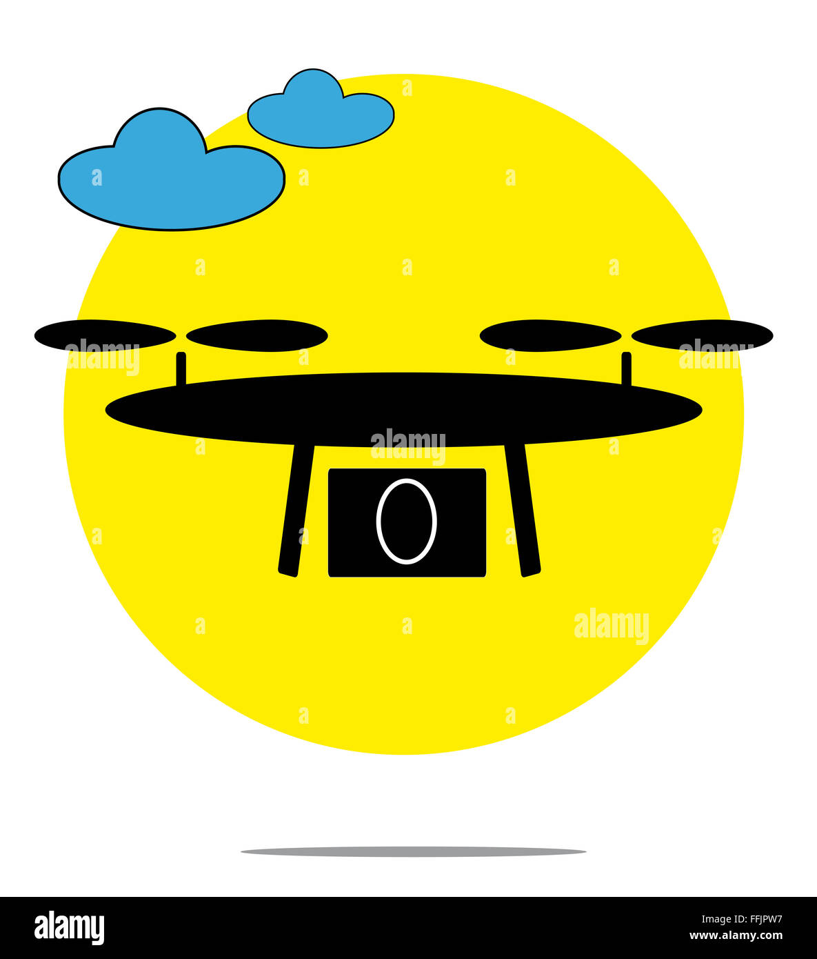 Illustration of drone with clouds and yellow circle background - Stock Image