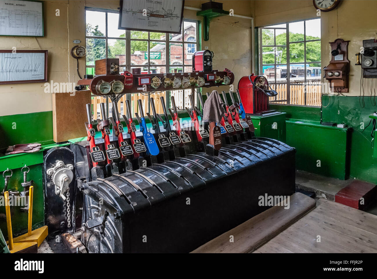 Historical signal box at the Havenstreet Station of the Isle of Wight Steam Railway Line, South East England. - Stock Image