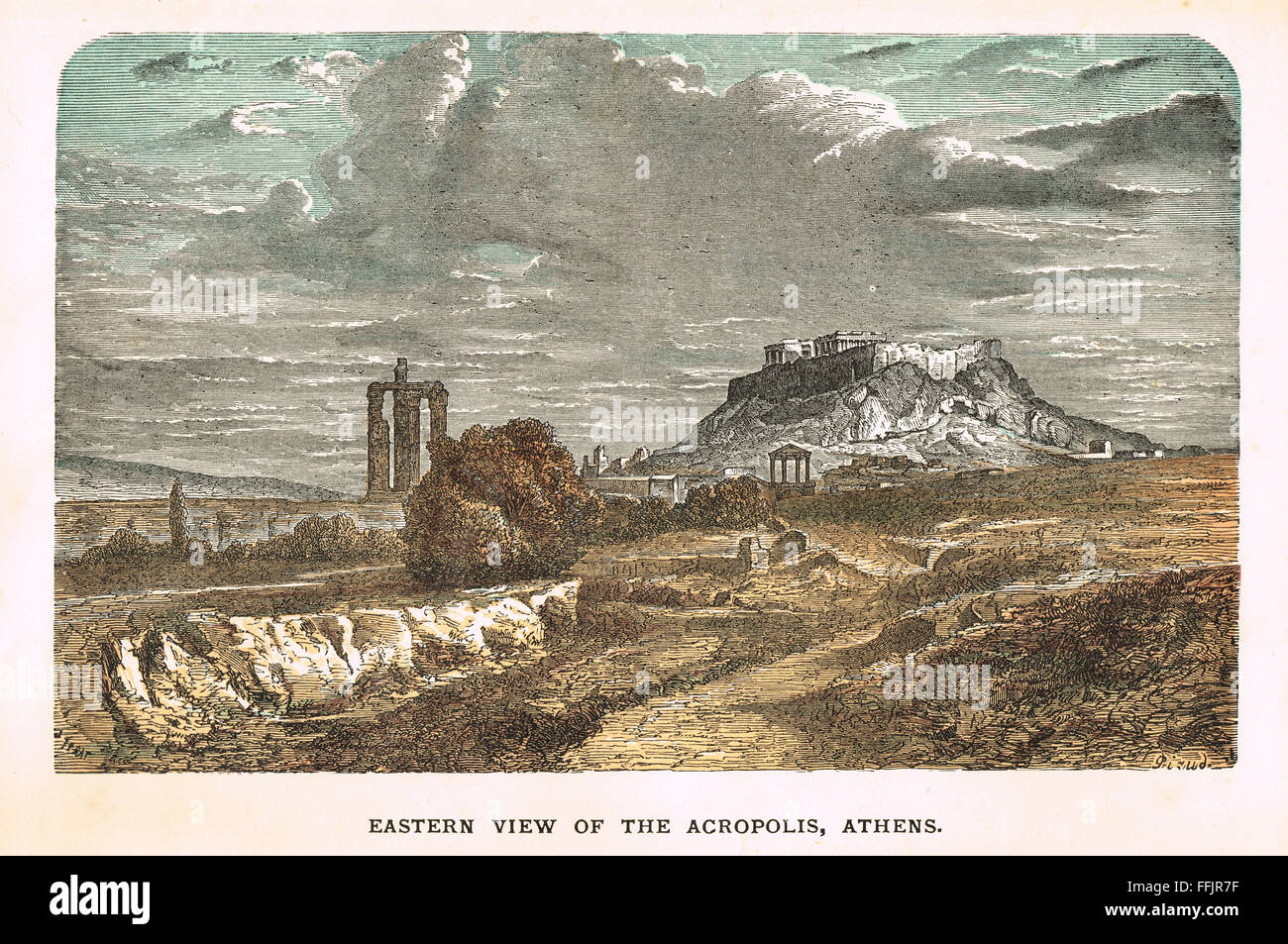 Eastern view of the Acropolis Circa 1896 - Stock Image