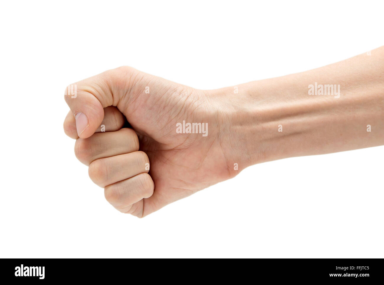 Man hand holding some like a blank card isolated on a white background - Stock Image