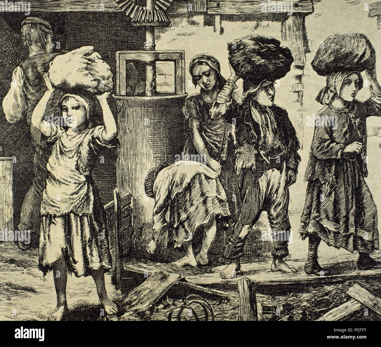 Children working in an industry. Early 19th century. Engraving. - Stock Image