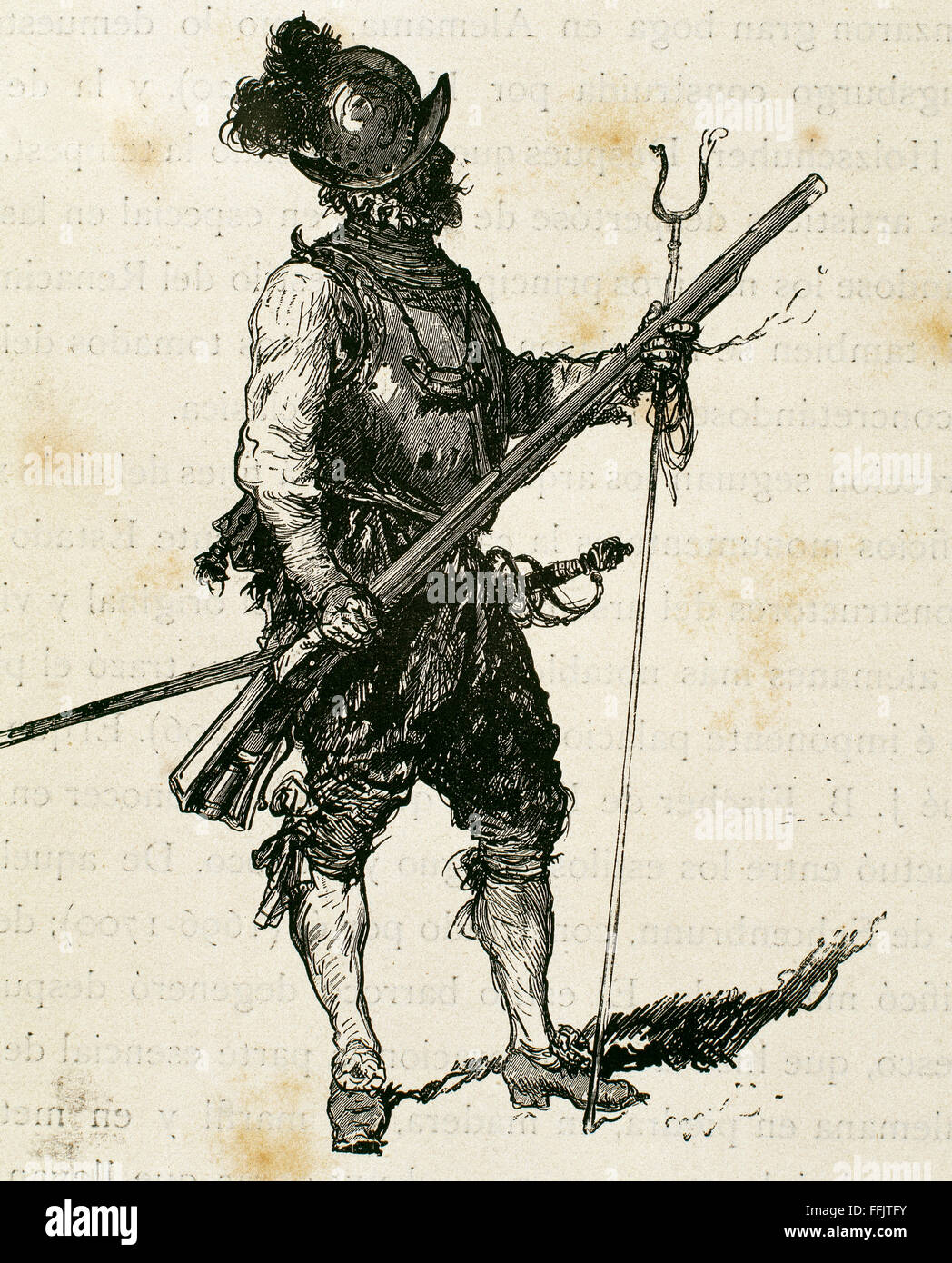 Arquebusier. Soldier armed with an arquebus. Infantry Regiment. 16th century. Engraving, 19th century. - Stock Image