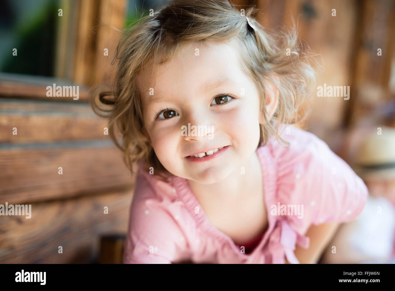 Portrait of little girl with blond hair Stock Photo