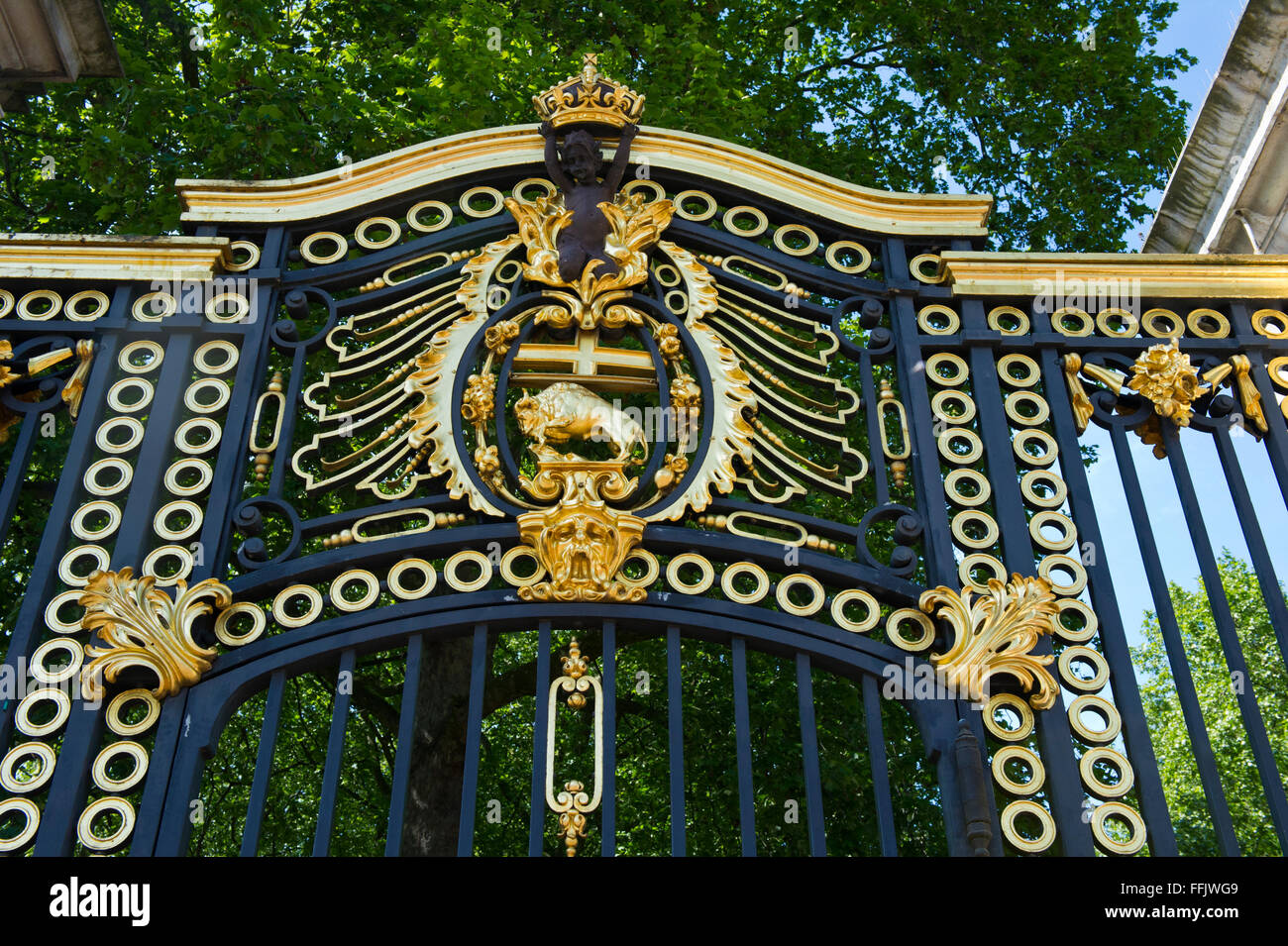 The Canada gate ornate with golden decorations near Buckingham Palace, London, United Kingdom. - Stock Image
