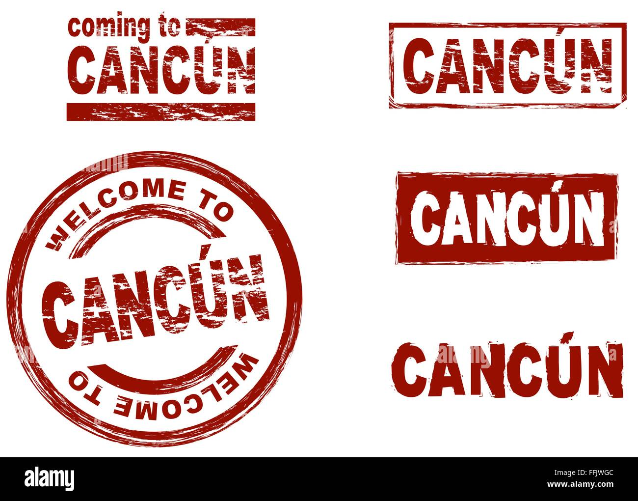 Set Of Stylized Ink Stamps Showing The City Of Cancun Stock Vector
